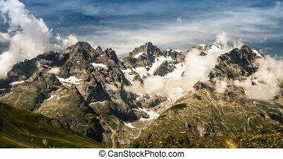 4K, Time Lapse, Cloud Formation At Col Du Lautaret, France -...