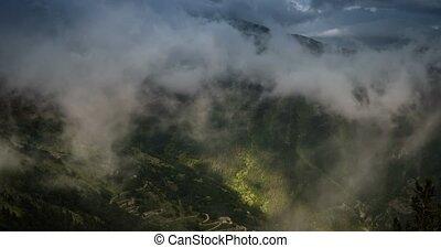 4K, Time Lapse, Clouds And Fog Over Vallon Du Lagon At Fort De La Marguerie, France - Neutral Version