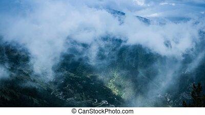 4K, Time Lapse, Clouds And Fog Over Vallon Du Lagon At Fort De La Marguerie, France - Cold Version