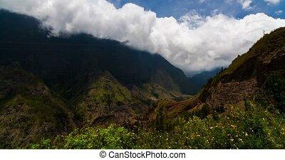 4K, Time Lapse, Epic Clouds At Mountain Range, Cilaos,...