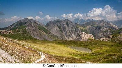 4K, Time Lapse, Epic View On Rocca La Meija Mountain Range, France - Neutral Version, Pan