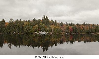 4K Time lapse fall colors at a lake
