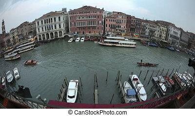 4K Time lapse fisheye Venice sunset Grand Canal - 4K Time...