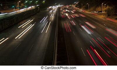 4K Time lapse freeway light trails at night - 4K Time lapse...