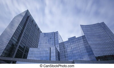 4K Time lapse glass skyscrapers close up