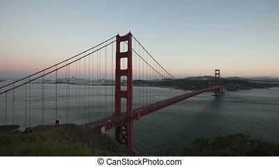 4K Time lapse Golden Gate Bridge Twilight to night