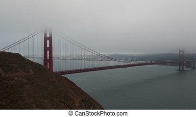 4K Time lapse Golden Gate Bridge with fog