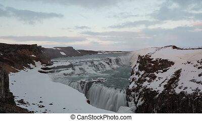 4K Time lapse Gullfoss waterfall