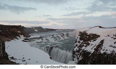 4K Time lapse Gullfoss waterfall
