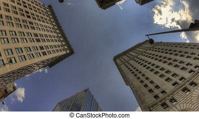 4K Time lapse HDR zoom out Cincinnati skyscraper rotation