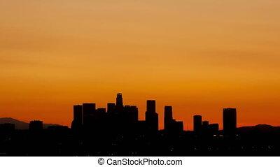4K Time lapse Los Angeles skyline sunrise