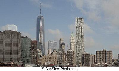 4K Time lapse medium close up Manhattan skyline