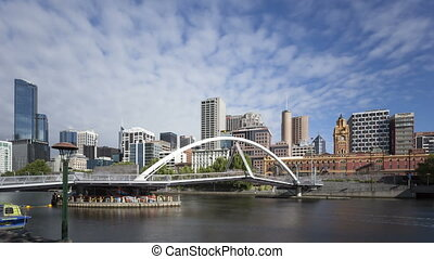4K Time lapse Melbourne Seafarers Bridge Yarra River