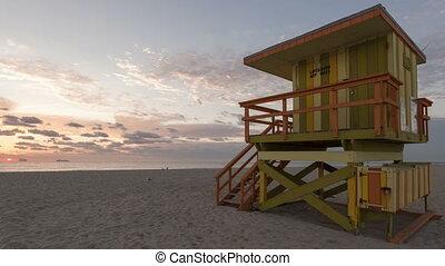 4K Time lapse Miami Beach rescue hut - 4K Time lapse Miami...