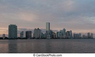 4K Time lapse Miami Skyline medium close up