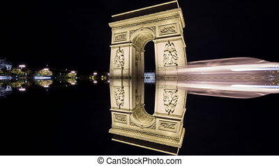 4K Time Lapse of Arc de Triomphe at night, Paris reflection...