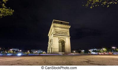4K Time Lapse of Arc de Triomphe at night, Paris