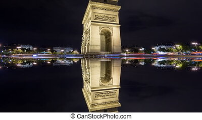 4K Time Lapse of Arc de Triomphe at night, Paris with mystic...