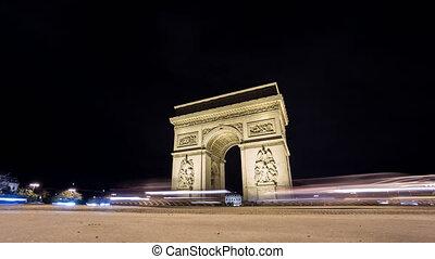 4K Time Lapse of Arc de Triomphe at night, Paris - Wide...