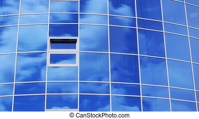 4K Time Lapse of Clouds Refelected in Modern Office Building