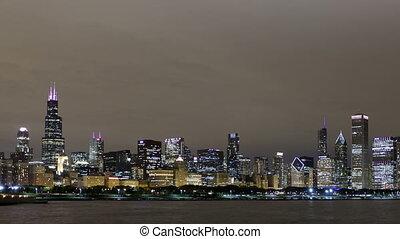 4K Time lapse pan shot Chicago skyline night