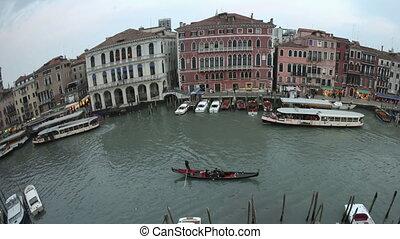 4K Time lapse pan shot fisheye Venice sunset Grand Canal -...
