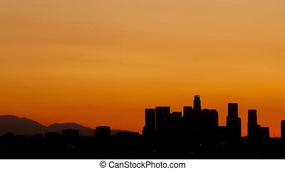 4K Time lapse pan shot Los Angeles skyline sunrise
