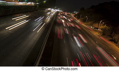 4K Time lapse rotate freeway light trails at night