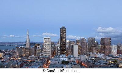 4K Time lapse San Francisco Twilight to night