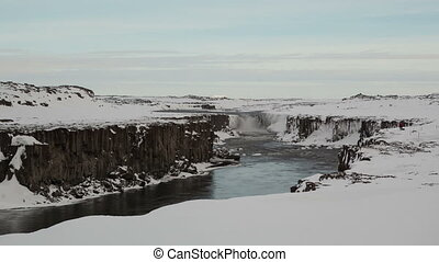 4K Time lapse Sellfoss waterfall