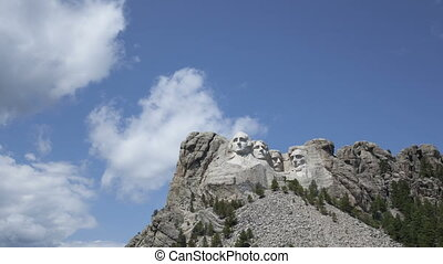 4K Time lapse zoom in Mt. Rushmore Presidents