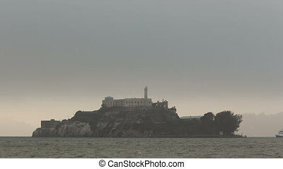 4K Time lapse zoom out Alcatraz Island in fog