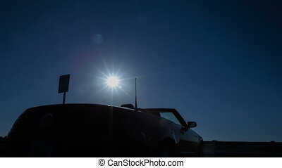 4K Time lapse zoom out convertible sun rising - 4K Time...
