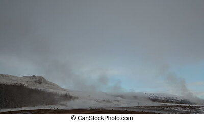 4K Time lapse zoom out Geysir eruption Iceland