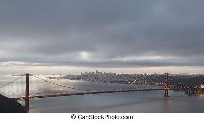 4K Time lapse zoom out sunrise Golden Gate Bridge