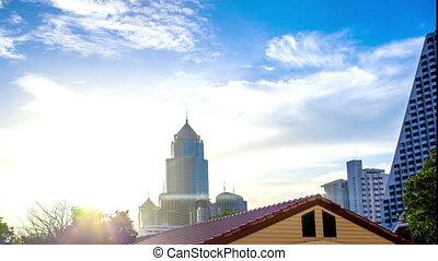 4k Timelapse. Aerial view of Bangkok at sunset