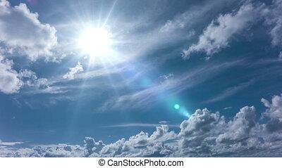 4k timelapse daytime sky with fluffy clouds, - daytime sky...