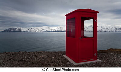4K Timelapse Iceland red phone booth - 4K Timelapse of a red...