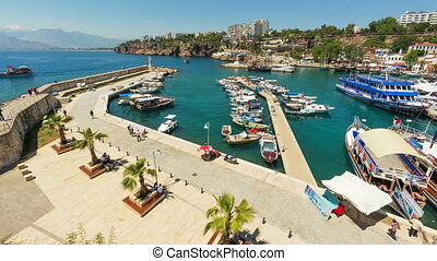 4K. Timelapse of marine traffic activity in old harbor in Antalya, Turkey