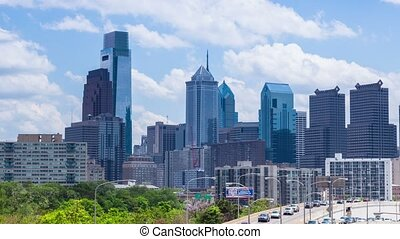 Timelapse of the philadelphia skyline - 4K Timelapse of the...