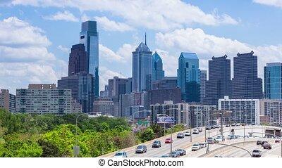 4K Timelapse of the philadelphia skyline - Pennsylvania USA