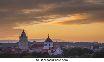 VILNIUS, LITHUANIA - timelapse view of Vilnius churches in the evening