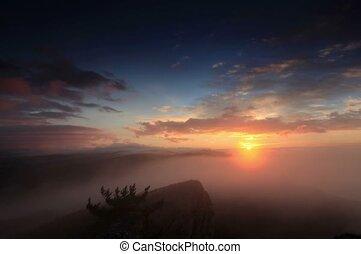 Timelapse sunrise in the mountains Ai-Petri. Alupka
