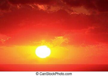 Timelapse sunset on the sea.