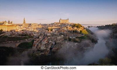 4K timelapse video at sunrise at Toledo, Spain. Old town...