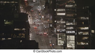 4K Timelapse view of traffic in downtown Toronto at night.