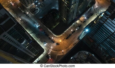4K Timelapse view of traffic in downtown Toronto at night....