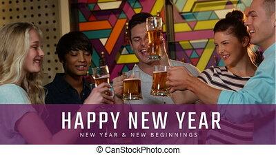 4k, toasting, nowy, piwo, rok, przyjaciele, okulary, wigilia