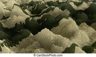 4K Topographic Waveform. 3D CGI Animation. Seamless Loop