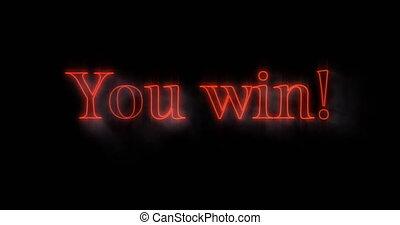 4k, ty, neon, wynurzanie się, zwycięstwo, tablica ogłoszeń